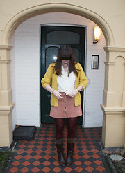 Ashley F - Vintage Blouse, Topshop Cardigan, Vintage Boots - The day my skirt fell off.