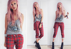 Amy Valentine - Topshop Eagle Vest, Darkside Tartan Trousers, Jeffrey Campbell Spiked Litas - WITH HER EYES LIKE A FLAME