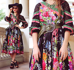 Bebe Zeva - Asian Icandy Mongolian Odval Dress, Romwe Platform Sandals, Nixon Floppy Hat - GARDEN GIRL
