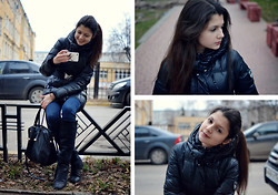 Anastasia Krymova - Giorgio Armani Down Jacket, Guess? Jeans, Vintage Earnings - Cold&casual