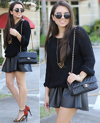 Daniela Ramirez - Sole Society Leopard Heels, Faux Leather Skirt, Jumper, Furor Moda Sunglasses, Karen London Necklace, Chanel Bag - Thanksgiving outfit!