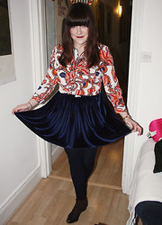 Ashley F - American Apparel Skirt, Topshop Blouse, Vintage Boots - Paisley