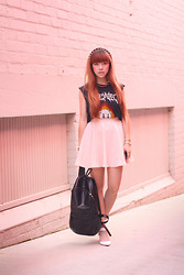 Willabelle Ong - Leather Backpack, Unif Death Meowtal Tee - Death