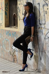 Laura Montilla - Zara Top, H&M Pants, Primark Heels, Forever 21 Necklace - Blue tread