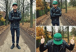 Lasse R. Rasmussen - Vintage Leather Biker Jacket, Diesel Knit, Weekday Patch Jeans, Dr. Martens Boots, Kenzo Cap - Eat your greens