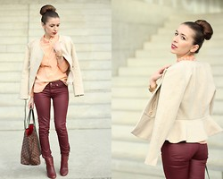 Angela D. - Tara Jarmon Blouse, H&M Jacket, Louis Vuitton Bag - Burgundy Lips & Legs