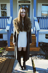 Stacey Belko - Armani Exchange Dress, Minimarket Trench Coat, Shoemint Boots - Blue holiday.