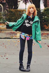 Typhaine - Jcdc Jacket, Romwe Cat Sweater, Vintage Shirt, Lee Jeans, Vintage Shoes - Kaleidoscope.