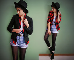 Sophia Mayrhofer - Forever 21 Fedora, H&M Blazer, Thrifted Statement Belt, Second Hand Denim Cutoffs, Ripped Tights, Thrifted Flannel, Black Milk Clothing Ribcage Bodysuit, Cable Knit Socks, Osco Lace Up Wedges - The world belongs to the energetic