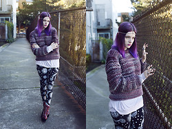Severine A - Goodwill Sweater, Evil Twin Leggings, Jeffrey Campbell Boots - Purple Phase