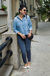 Gabriela Monsanto - Urban Outfitters Sunglasses, Urban Outfitters Blouse, Current/Elliott Jeans, Zara Bag, Repetto Flats - Heart Frames
