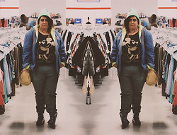 Sara Ann - American Apparel Neon Beanie, Pennington Dark Green Jeans, H&M Black And Gold H & M Mickey Mouse Shirt - Neon vintage