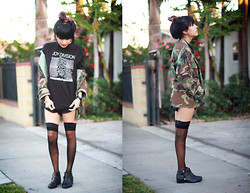 Joellen Lu - Tarte Vintage Camo Jacket, Vintage Original Joy Division Tee, American Apparel Sheer Thigh High Stocking Hold Ups, Zara Flat Ankle Boot With Trim, Christian Dior Vintage Silk Romper - Camouflage in Transmission