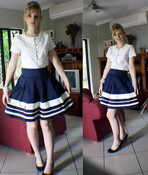 Claire Woodfield - Forever New Nautical Skirt By, Sonata Boat Neck Button Up, Prouds Pearl Necklace, Equip Pearl Cuff, Rubi Black Heels - Casual Nautical Look
