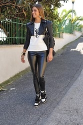 Fabrizia Spinelli - Celyn B Leather Jacket, Romwe Shirt, Amy Gee Leggings, Amy Gee Bag, My Hot Shoes Sneakers, Hermës Cuff, Mimi Boutique Earrings - Odi at amo