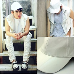 Karl Philip Leuterio - Cotton On Patent Leather Cap, Joseph Aloysius Biker Vest, Salad Day White Sporty Shirt, Paneled Pants, Gold Dot White Pony Hair Creepers - White or wrong