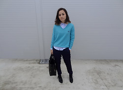 Veronika B - Shoes, Bag, Shirt, Fred Perry Jumper, H&M Pants - With or without