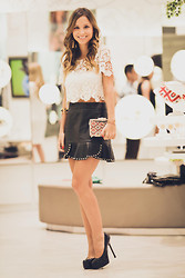 Luisa Accorsi - Lf Top, Zara Skirt, Yves Saint Laurent Pump - Lace & Leather