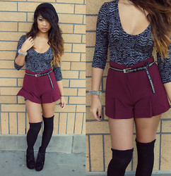Samantha San Antonio - Pacsun Feather Body Con Dress, Forever 21 Oxblood Shorts, Over The Knee Socks, Knock Off Litas, Spiked Bracelet, Belt, H&M Beanie - Feather by feather, the goose is plucked.
