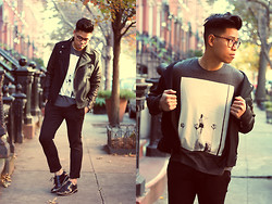 Anthony Urbano - Kenneth Cole Wool/Leather Moto Jacket, 7 For All Mankind Graphic Tee, Bar Iii Patent Leather Shoes - Back To Black