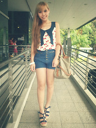 Esther Xie - Ribbon Top, Denim High Waist, Monogram Bag, Denim Blue Wedges - All Love Ever Does Is Break And Burn And End