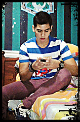 Michael Angeles - Stripped Shirt, Suunto Watch, Bracelets, Vans, Topman Red Jeans - Stand out with bright colors