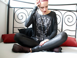 Ruth Less - Zara Skull Top, Oslo Fake Leather Leggings, Forever 21 Very High High Heels - Like the fox I run with the hunted