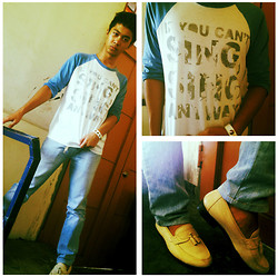 Paul Adriel Loquias - Artwork Phils Shirt, Faded Pants, Thrifted Cream Vintage Shoes - Tall, Dark and AWESOME.