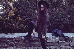 Violet Ell - Thrift Store Military Jacket, Leather Shorts, Thrift Store Leather Backpack, Thrift Store Hat, Dr. Martens Boots - 10.10.2012