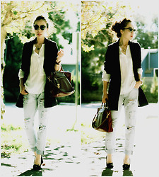 Hallie S. - One Teaspoon Jeans, Forever 21 Blazer, Prada Bag - Distressed Jeans