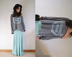 Jasmine S - Forever 21 Wool Hat, Wildfox Couture Young Heart Pullover, Mint Maxi Skirt - Wild hearts can't be broken