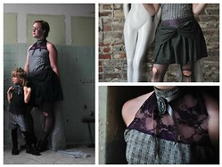 E.B. Berger - Onsie With A Corset Lace Up Back, And Halter Neckline., Skirt With Train, Cameo The Label Lace Choaker, And - With your feet on the air, and your head on the ground.