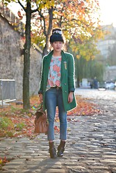 Leeloo P - Jacket Kinji, Guess? Jean Guess, Mulberry Bag, Flowers Vintage, Boots Zadig Et Voltaire - Flowers casual
