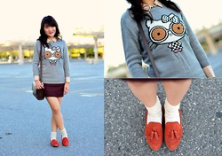 Lucy Z. - Gap Blouse, Forever 21 X Hello Kitty Sweater, H&M Tweed Skirt, Coach Purse, Dolce Vita Dv By Tassel Loafers - Nerdette