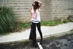 L A - High Heels Suicide Tshirt, Unif Hellbound Shoes, Asos Leather Pants - WE ARE HIGHER THAN A MOTHER F*CKER