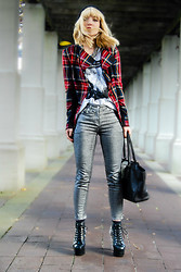 Olivia Taylor - Heed Blazer, Coated Skinnies, Jeffrey Campbell Spikes - Mad Plaid
