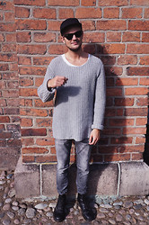 Lasse R. Rasmussen - Cos Knit, Topman 5 Panel, Day Jeans, Dr. Martens Boots, Ray Ban Shades - Greyscale