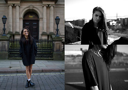 India Rose - Topshop Oversized Coat, Dr. Martens Chelsea Boots, Zara Leather Sleeve Top, Nelly Chain Necklace - DECEIVING