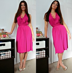 Gabrielle Deanna - Rue21 Coral/Pink And Gold Neclace, Gold Heels, Thrift Store Bright Dress - Bright, Warm Winter.