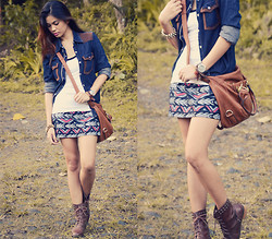 Happy Abbey - Edc By Esprit Denim Top Cover Up, Aztec Skirt, Michaela Brown Sling Bag, Thristed Brown Studded Boots - Denim Challenge 01