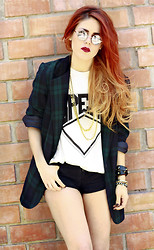 Lua P - Vintage Blazer, Illustrated People Spend Tee - SPEND.
