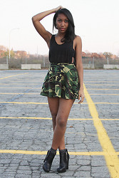 Melanie Patterson - Unif Skinny Tank, Camo Circle Skirt, Sam Edelman Zoe Boots - Tough it Out