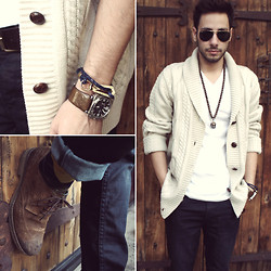 Reinaldo Irizarry - Forever 21 Cardigan, Jockey Shirt, Hot Topic Jeans, Mycloset Italia Necklace, English Laundry Watch, Marc By Jacobs Bracelet, Ray Ban Sunglasses, Target Socks, Zara Shoes - OVERSIZED CARDI