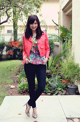 Chesley Tolentino - Nasty Gal Jacket, Lulus Top, Js By Jessica Heels - Floral Punch