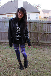 Gege Z - Romwe Galaxy Leggings, Target Pleather Jacket, Walmart Keep Calm And Carry On Shirt - Everybody starry eyed