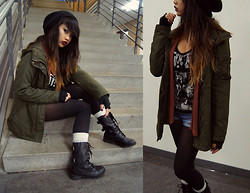Samantha San Antonio - Forever 21 Olive Parka, Combat Boots, Sister's Closet Slain Tee, Auburn Cardigan, Beanie, Fingerless Gloves, Shorts - Once the storm is over you wont know how you made it through