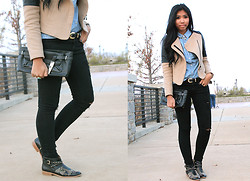 Sharena C. - Zara Studded Boots, Zara Leather And Beige Jacket, Calvin Klein Black Clutch - Studs On My Boots