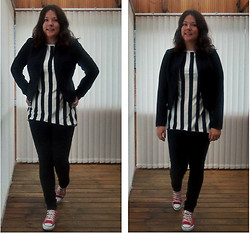 Anna M - Converse Red, Oasap Top, H&M Black Blazer - Dress down a blazer with converse