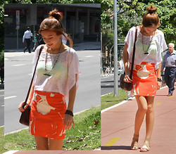 Isa M. - J. Crew Pencil Skirt, Forever 21 Boxy Shirt, Forever 21 Neon Yoga Bra, Handmade Moustache Necklace, Free People Stretchy Sandals - Six (trashy class).