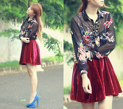 Anastasia Siantar - Floral Print Black Blouse, Red Velvet Skirt, Ulin Custom Shoes - Rose heart